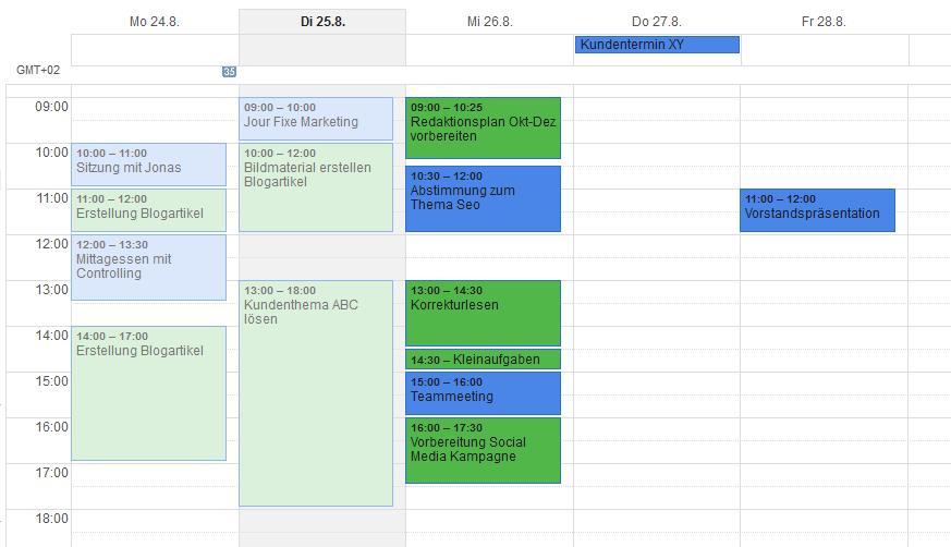 ToDo-Liste planen: Kalenderansicht mit Aufgaben